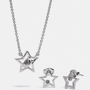 Coach boxed star necklace and earrings set